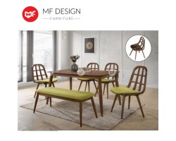 MF DESIGN  Tofu Dining Set (1 Table + 4 Chair + Bench Chair) - Modern Style [Full Solid Rubber Wood]